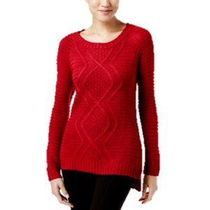 Ny Collection Cable-Knit Sweater in Scarlet Red